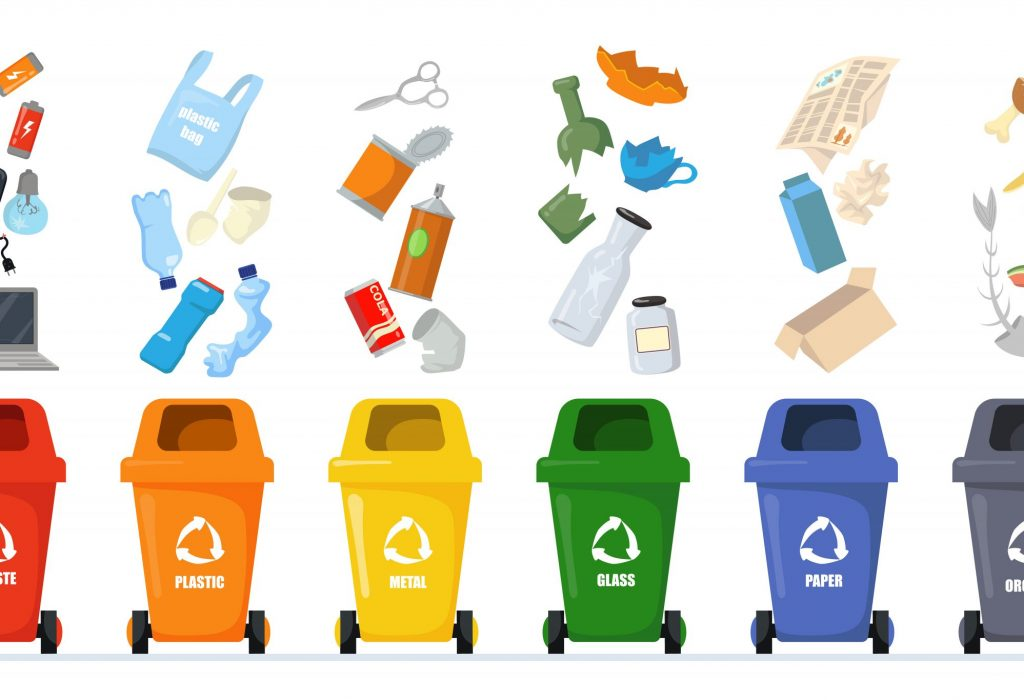 Garbage sorting set. Bins with recycling symbols for e-waste, plastic, metal, glass, paper, organic trash. Vector illustration for zero waste, environment protection concept